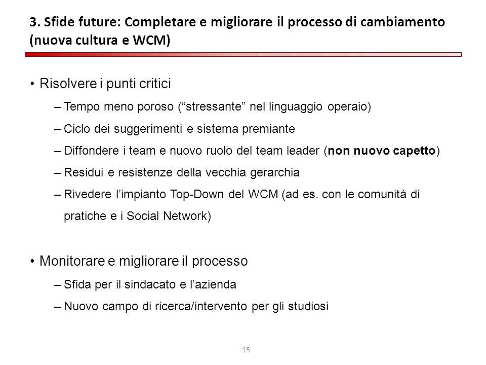 3. Sfide future: Completare e migliorare il processo di cambiamento (nuova cultura e WCM)