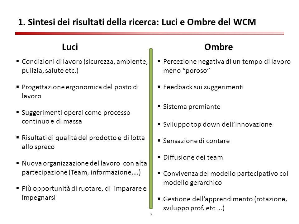 1. Sintesi dei risultati della ricerca: Luci e Ombre del WCM