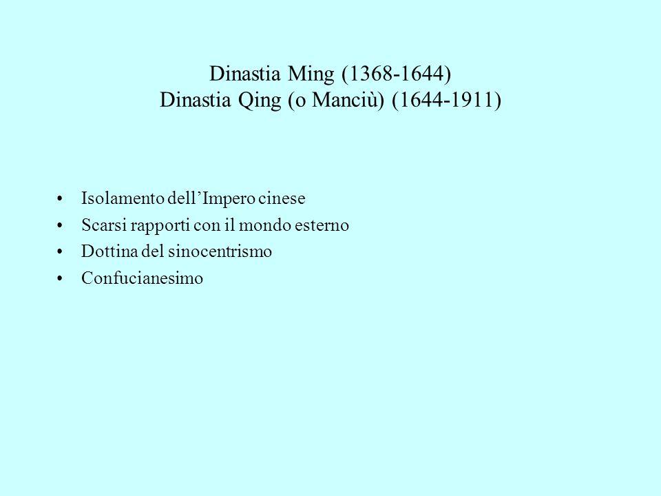 Dinastia Ming (1368-1644) Dinastia Qing (o Manciù) (1644-1911)