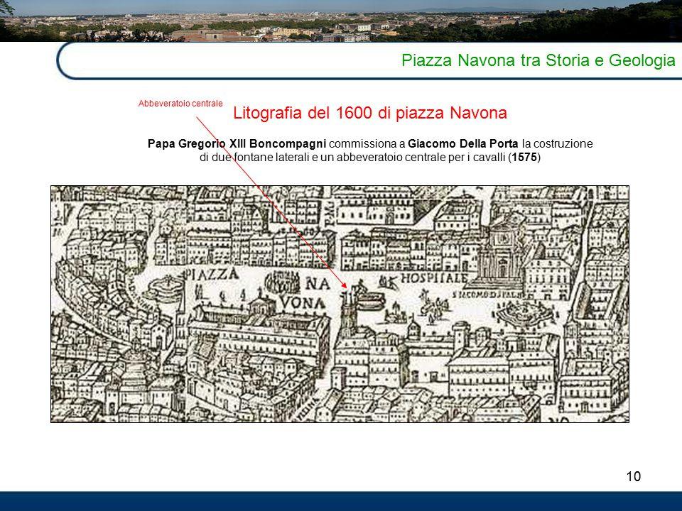 Litografia del 1600 di piazza Navona