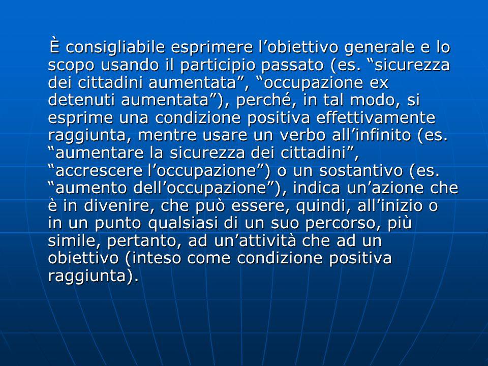 È consigliabile esprimere l'obiettivo generale e lo scopo usando il participio passato (es.