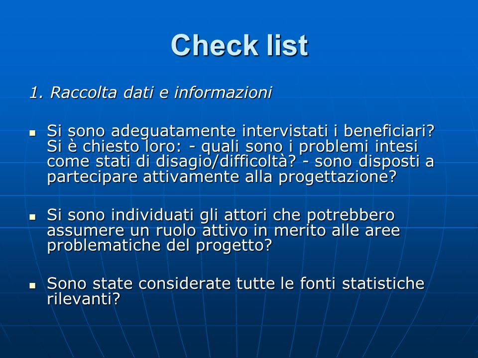 Check list 1. Raccolta dati e informazioni
