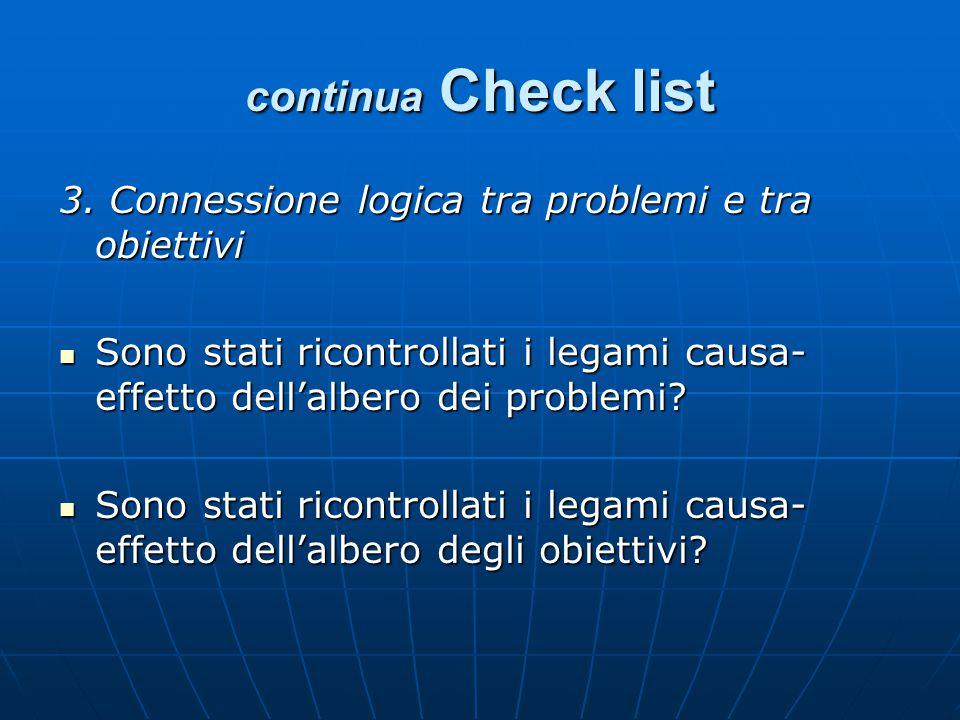 continua Check list 3. Connessione logica tra problemi e tra obiettivi