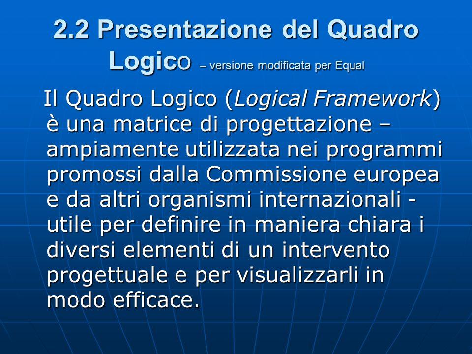 2.2 Presentazione del Quadro Logico – versione modificata per Equal