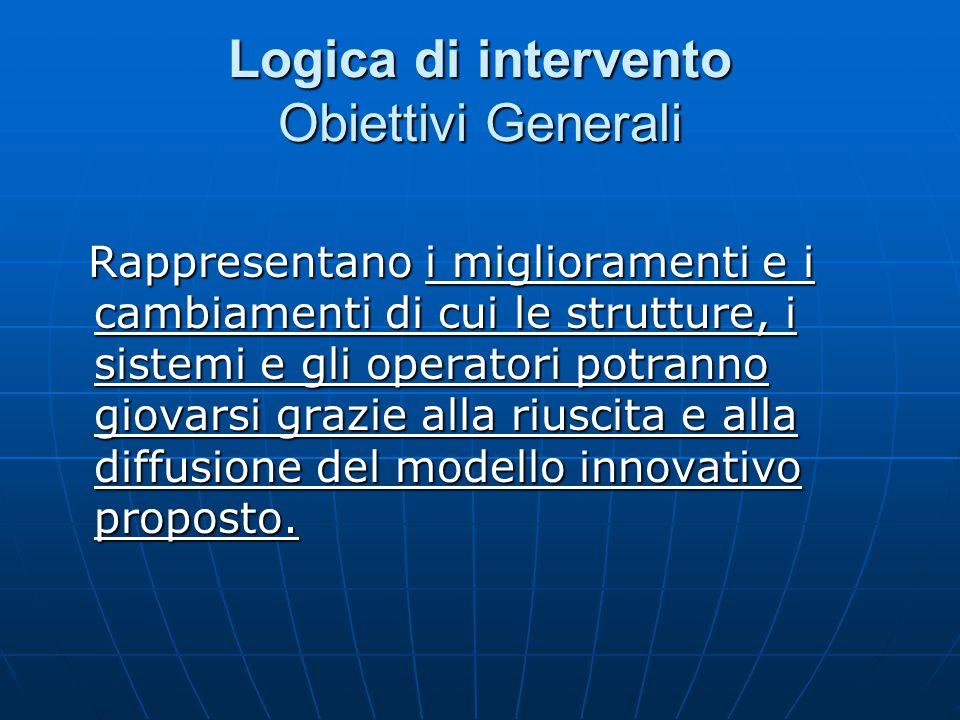 Logica di intervento Obiettivi Generali