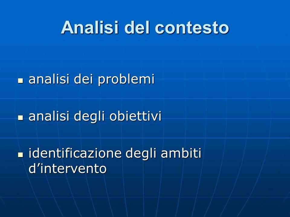 Analisi del contesto analisi dei problemi analisi degli obiettivi
