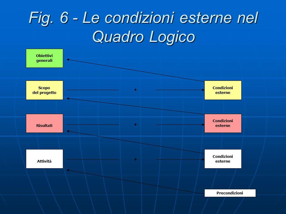 Fig. 6 - Le condizioni esterne nel Quadro Logico