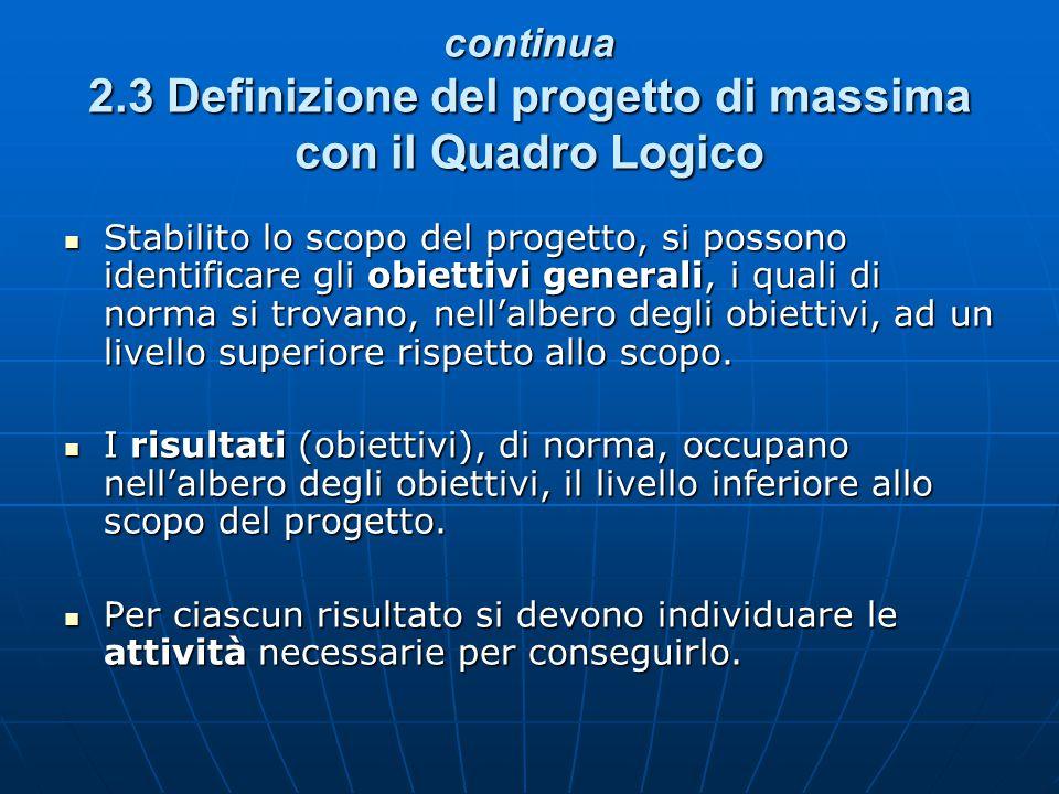 continua 2.3 Definizione del progetto di massima con il Quadro Logico
