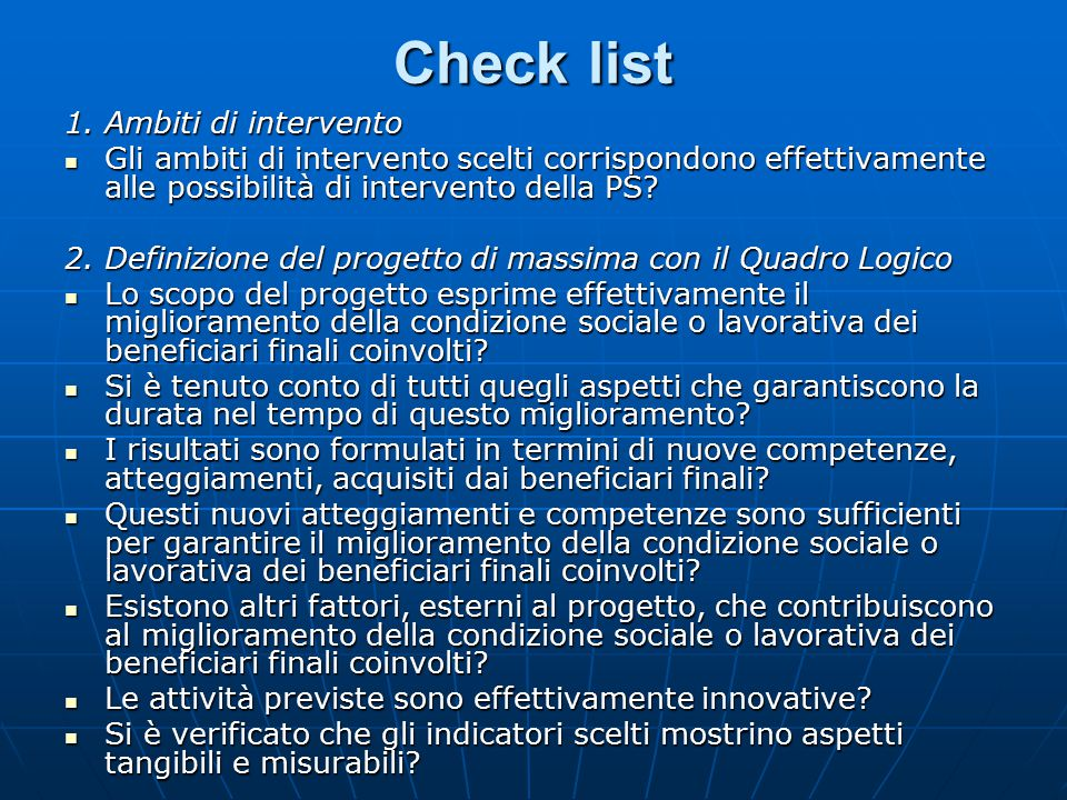 Check list 1. Ambiti di intervento