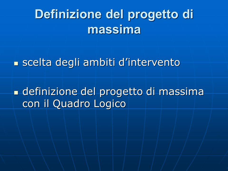 Definizione del progetto di massima