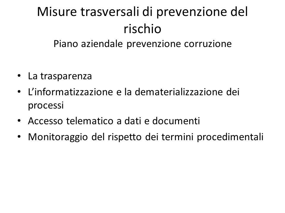 Misure trasversali di prevenzione del rischio Piano aziendale prevenzione corruzione