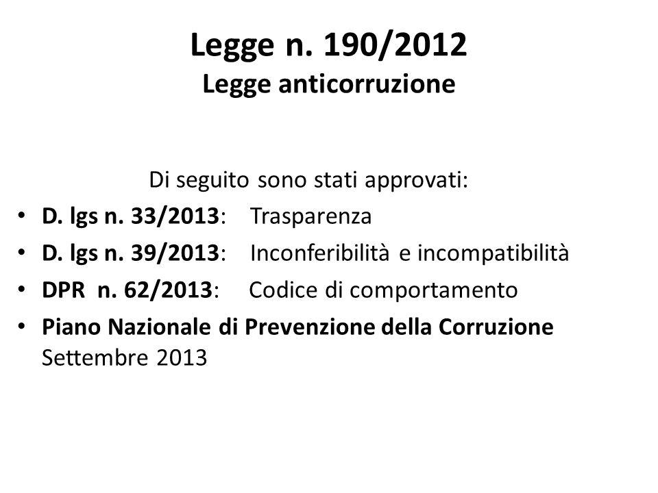 Legge n. 190/2012 Legge anticorruzione