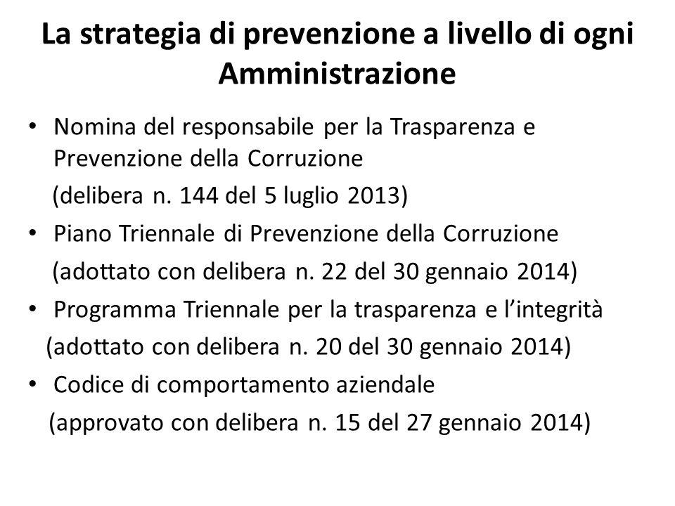 La strategia di prevenzione a livello di ogni Amministrazione