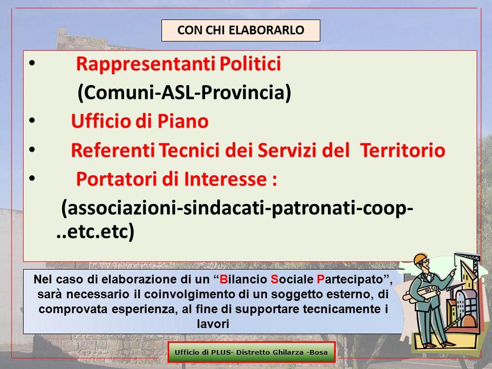 Rappresentanti Politici (Comuni-ASL-Provincia) Ufficio di Piano