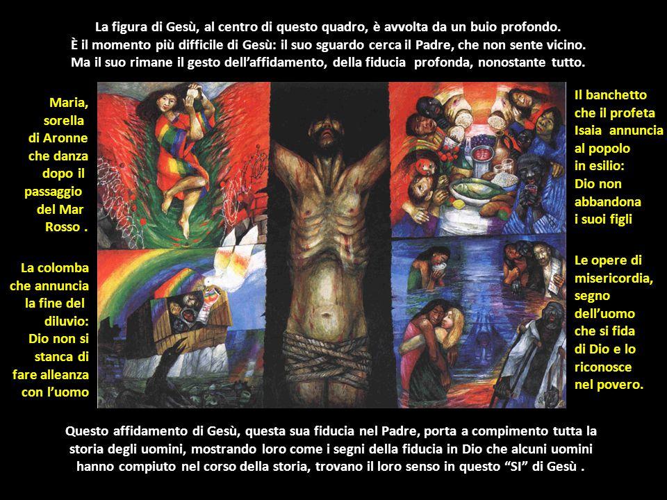 La figura di Gesù, al centro di questo quadro, è avvolta da un buio profondo.