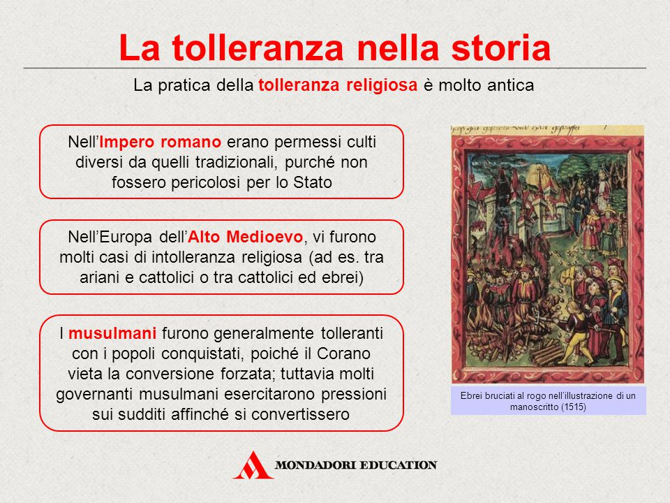 La tolleranza nella storia