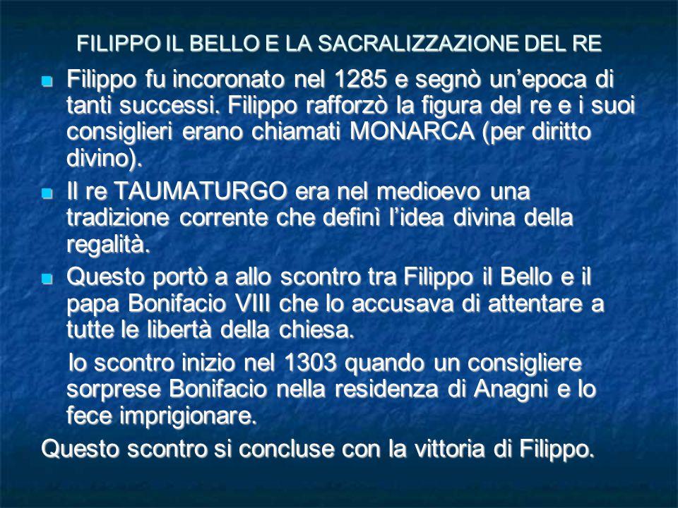FILIPPO IL BELLO E LA SACRALIZZAZIONE DEL RE