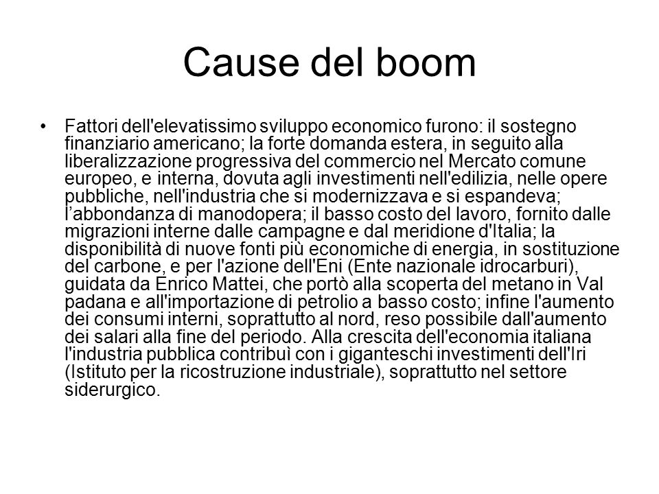 Cause del boom