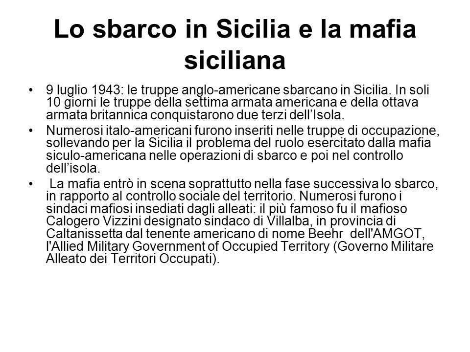 Lo sbarco in Sicilia e la mafia siciliana