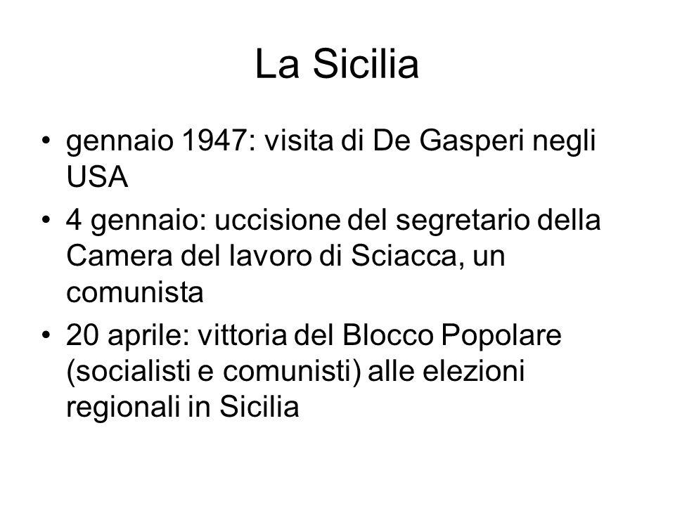 La Sicilia gennaio 1947: visita di De Gasperi negli USA