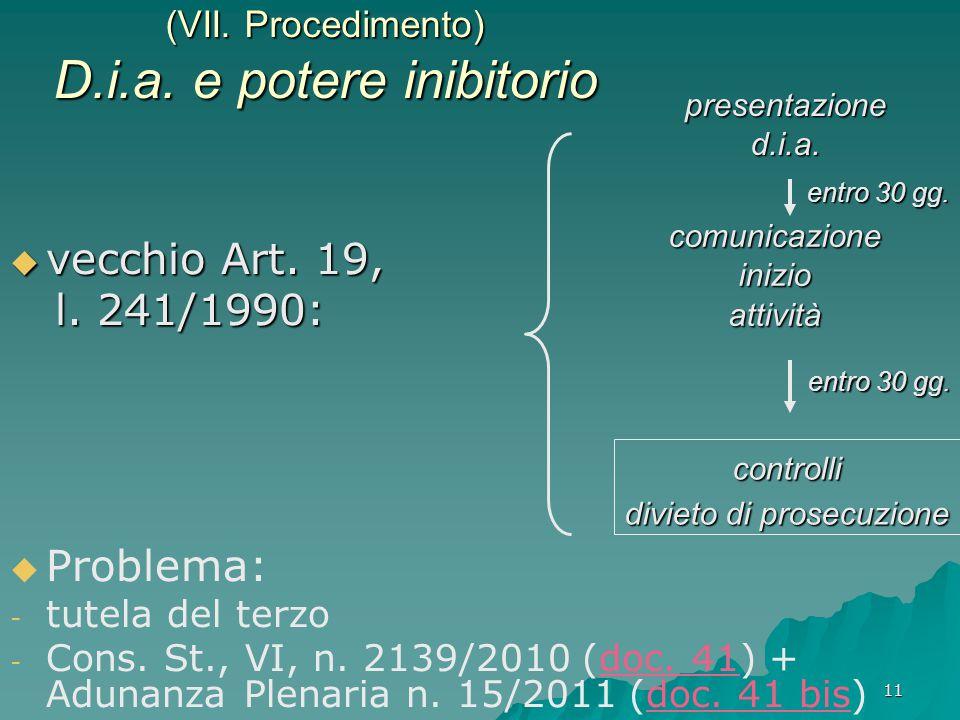(VII. Procedimento) D.i.a. e potere inibitorio