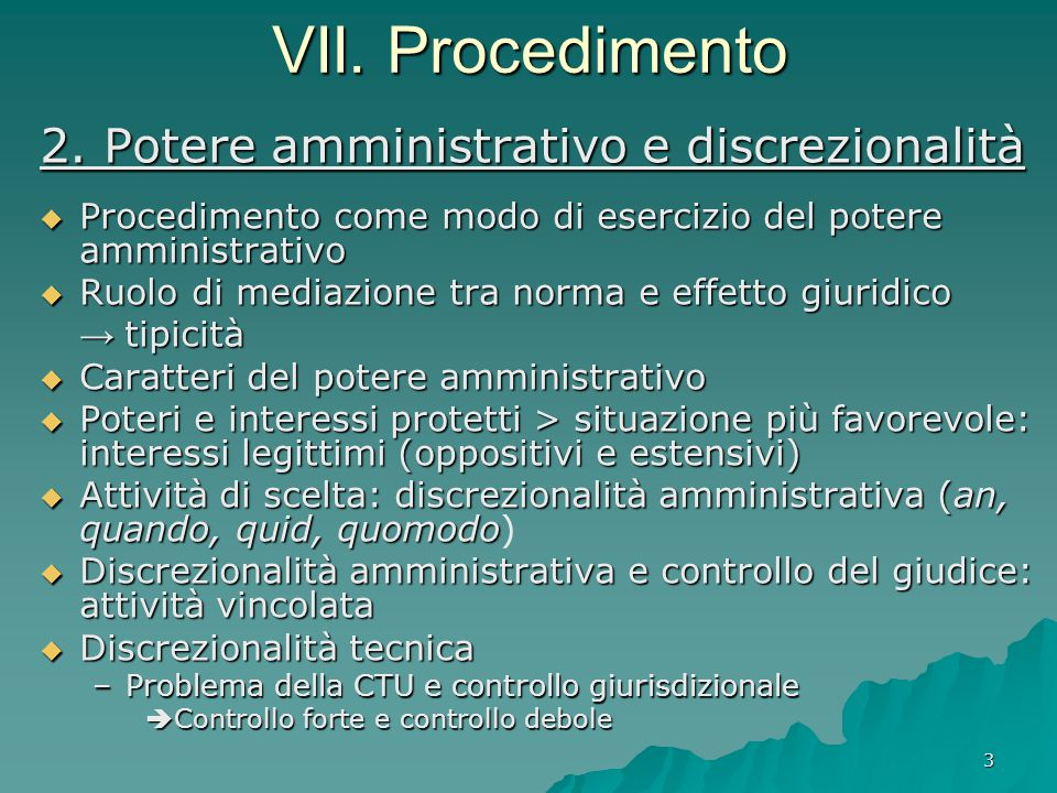 VII. Procedimento 2. Potere amministrativo e discrezionalità