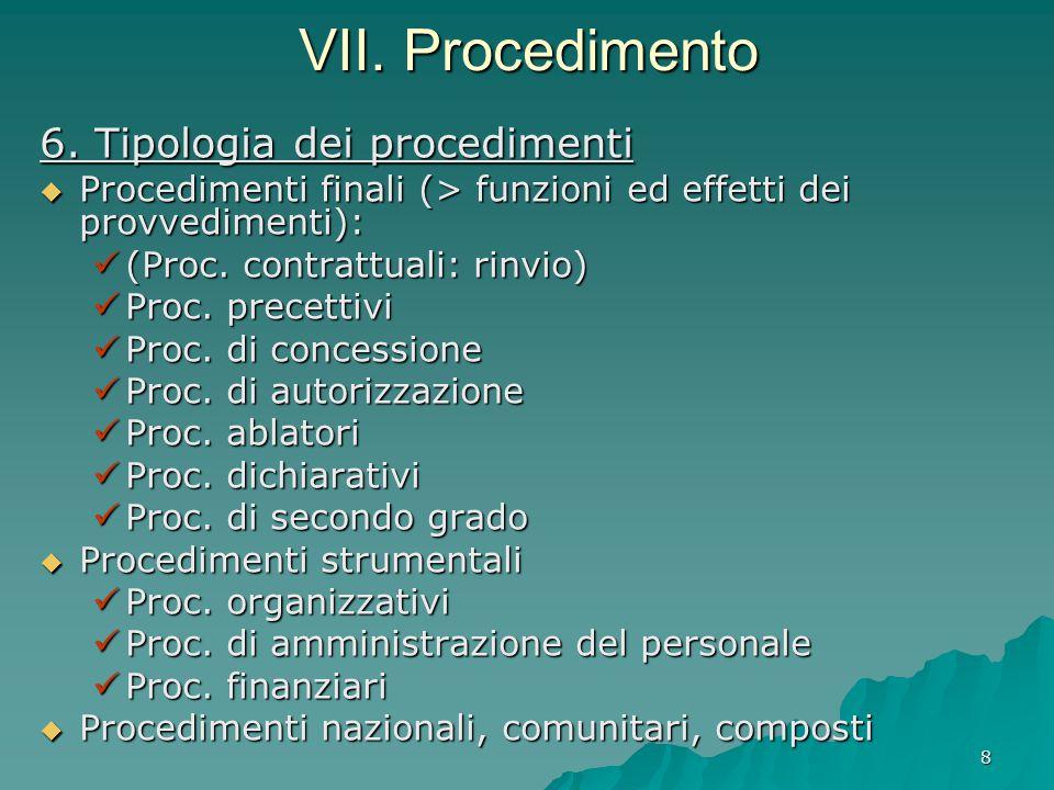 VII. Procedimento 6. Tipologia dei procedimenti