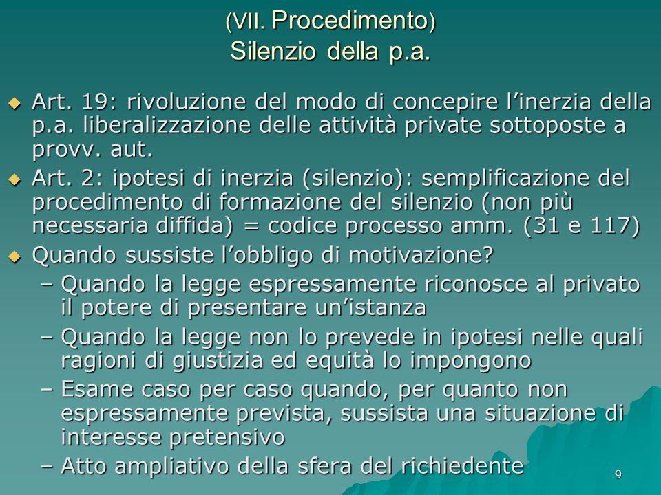 (VII. Procedimento) Silenzio della p.a.