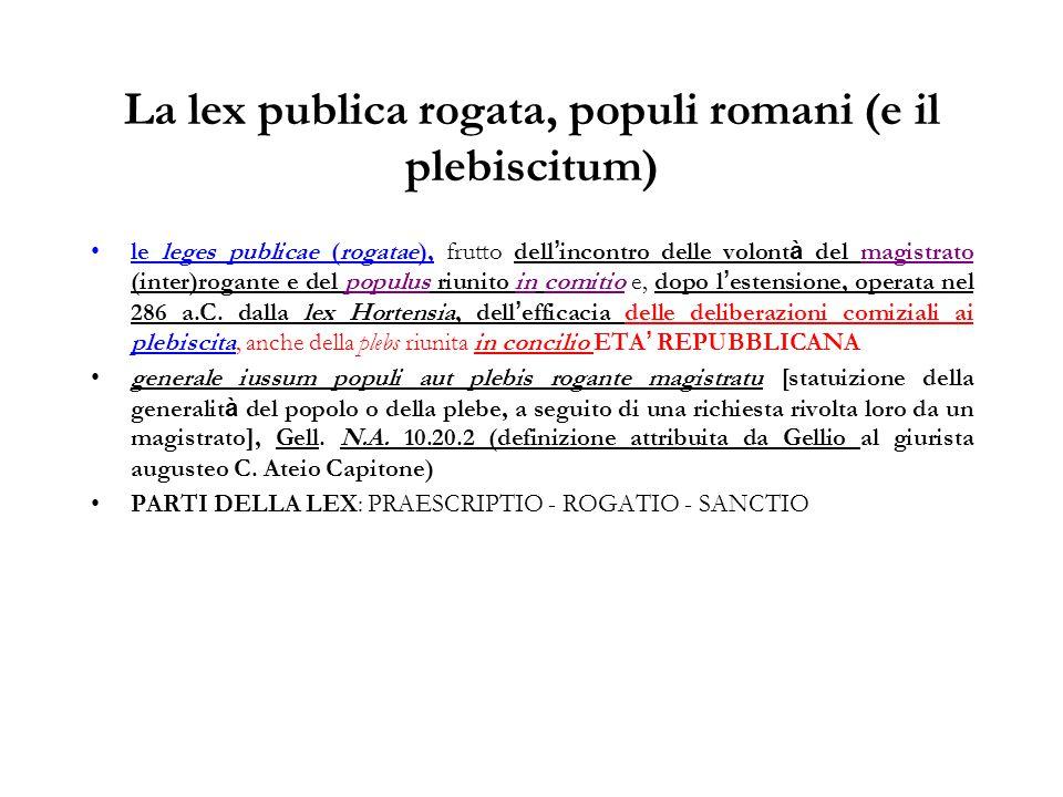 La lex publica rogata, populi romani (e il plebiscitum)