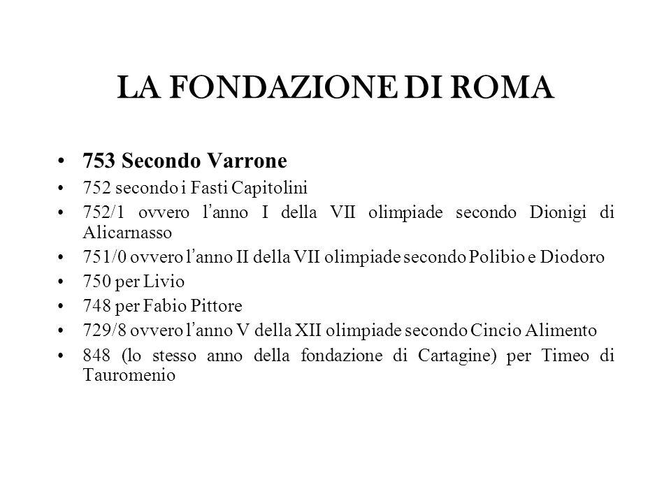 LA FONDAZIONE DI ROMA 753 Secondo Varrone