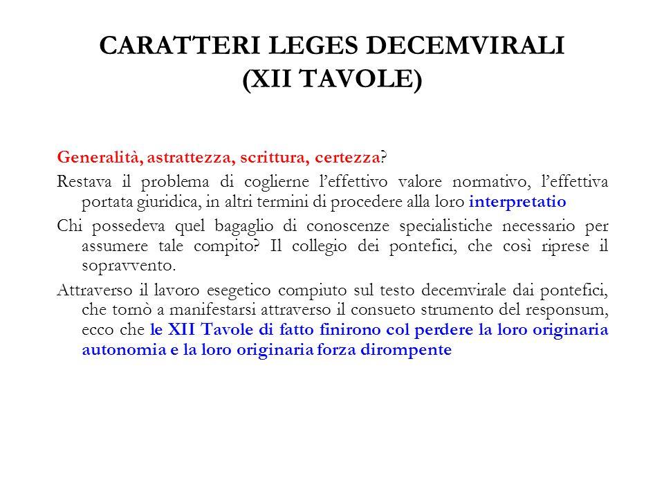 CARATTERI LEGES DECEMVIRALI (XII TAVOLE)