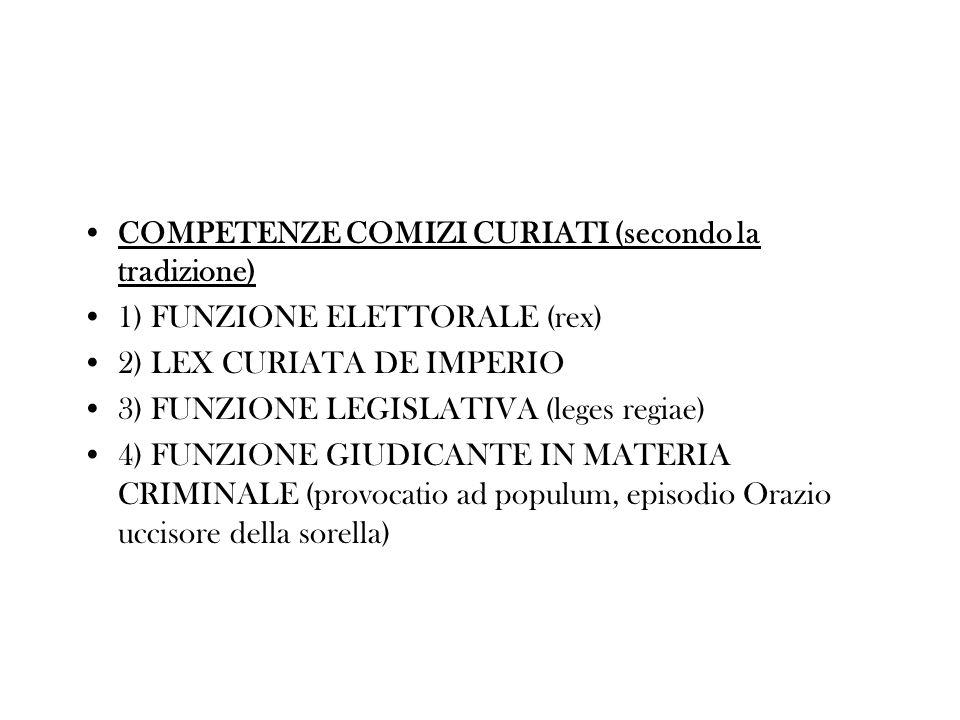 COMPETENZE COMIZI CURIATI (secondo la tradizione)