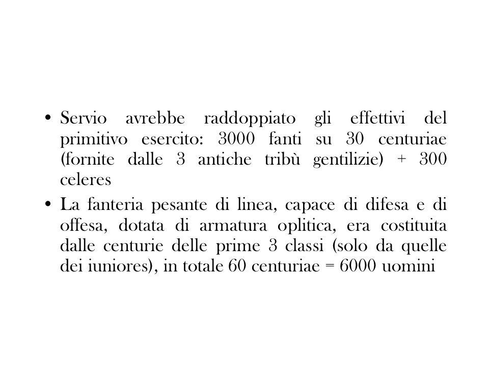 Servio avrebbe raddoppiato gli effettivi del primitivo esercito: 3000 fanti su 30 centuriae (fornite dalle 3 antiche tribù gentilizie) + 300 celeres