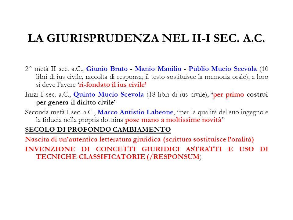 LA GIURISPRUDENZA NEL II-I SEC. A.C.