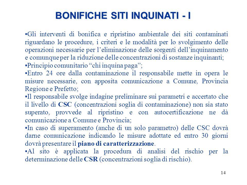 BONIFICHE SITI INQUINATI - I