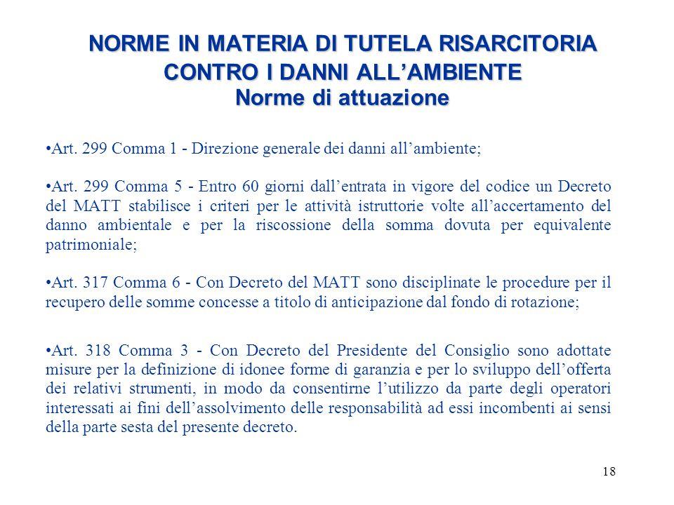NORME IN MATERIA DI TUTELA RISARCITORIA CONTRO I DANNI ALL'AMBIENTE Norme di attuazione