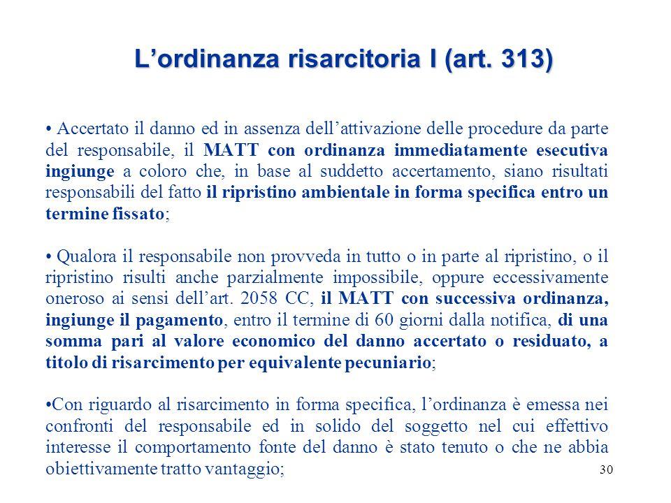 L'ordinanza risarcitoria I (art. 313)