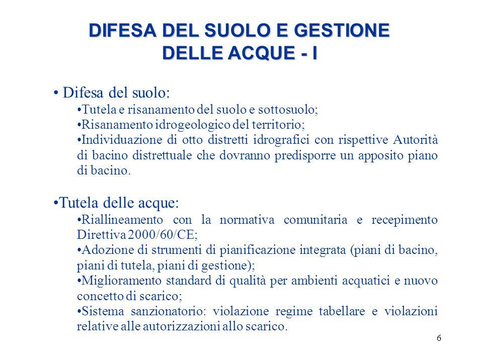 DIFESA DEL SUOLO E GESTIONE DELLE ACQUE - I