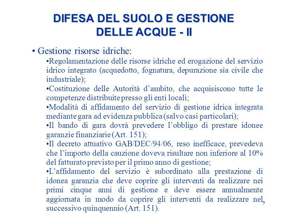 DIFESA DEL SUOLO E GESTIONE DELLE ACQUE - II