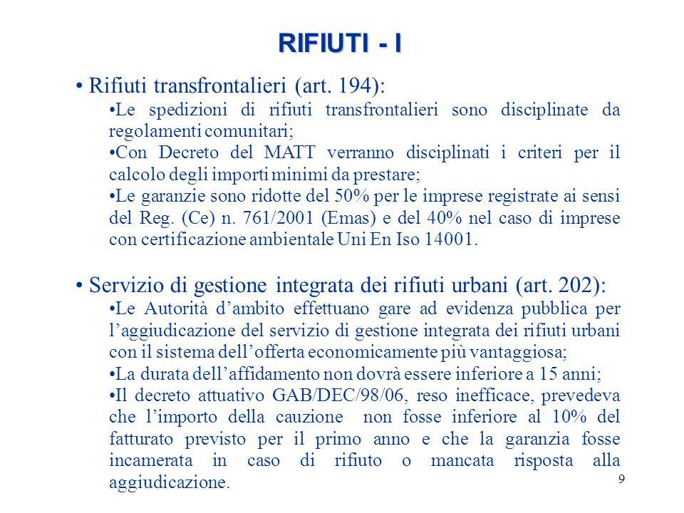 RIFIUTI - I Rifiuti transfrontalieri (art. 194):