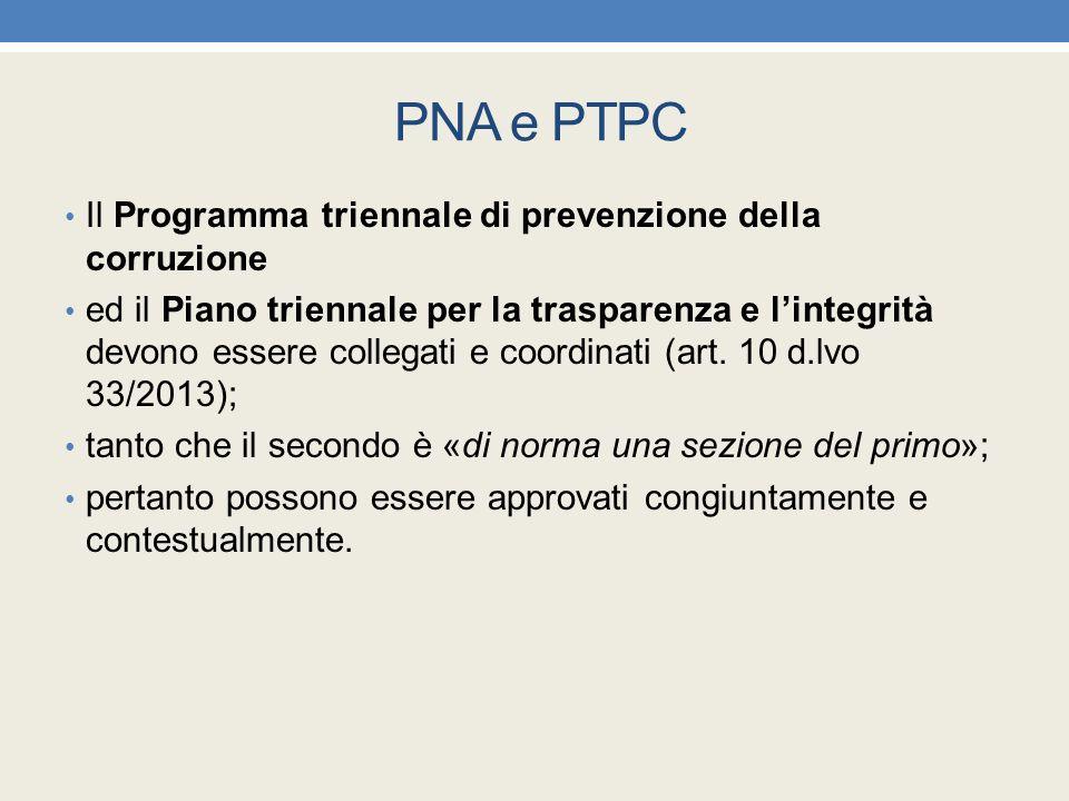 PNA e PTPC Il Programma triennale di prevenzione della corruzione