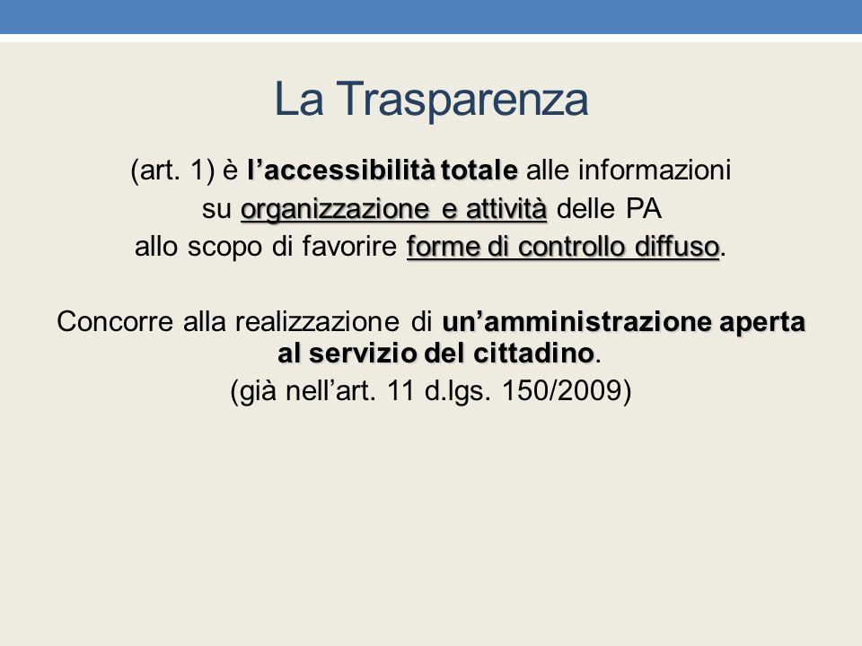 La Trasparenza (art. 1) è l'accessibilità totale alle informazioni