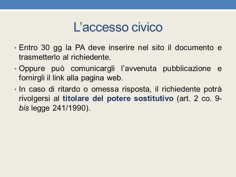 L'accesso civico Entro 30 gg la PA deve inserire nel sito il documento e trasmetterlo al richiedente.