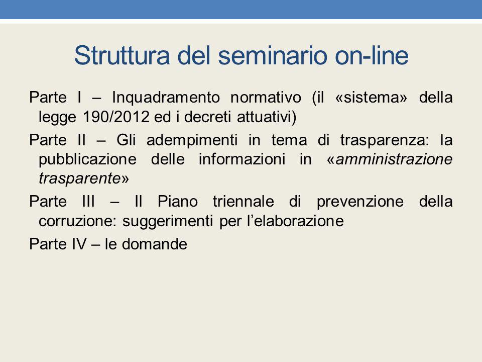 Struttura del seminario on-line