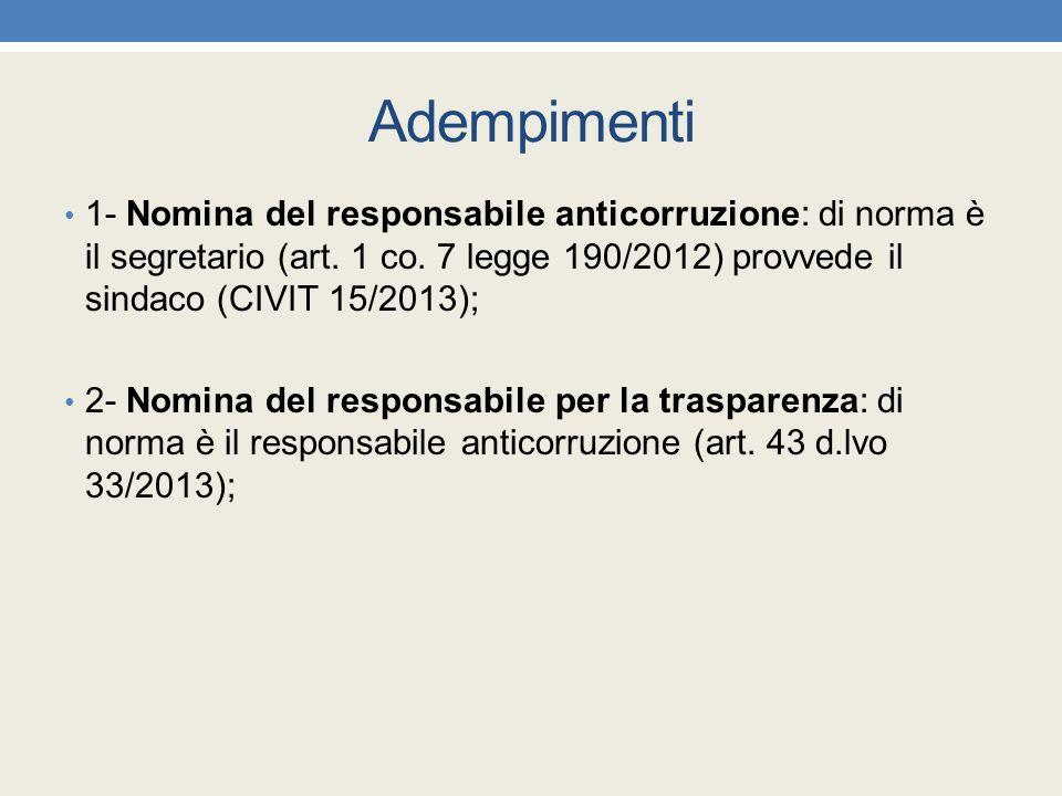 Adempimenti 1- Nomina del responsabile anticorruzione: di norma è il segretario (art. 1 co. 7 legge 190/2012) provvede il sindaco (CIVIT 15/2013);