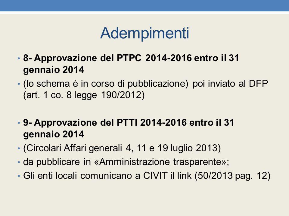 Adempimenti 8- Approvazione del PTPC 2014-2016 entro il 31 gennaio 2014.