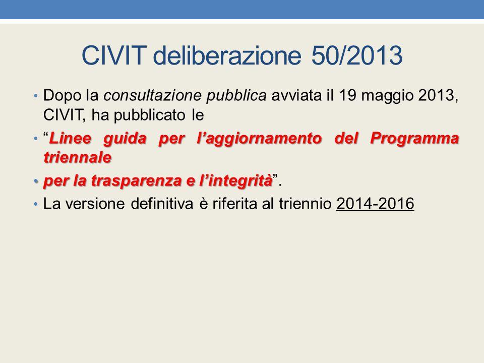 CIVIT deliberazione 50/2013 Dopo la consultazione pubblica avviata il 19 maggio 2013, CIVIT, ha pubblicato le.