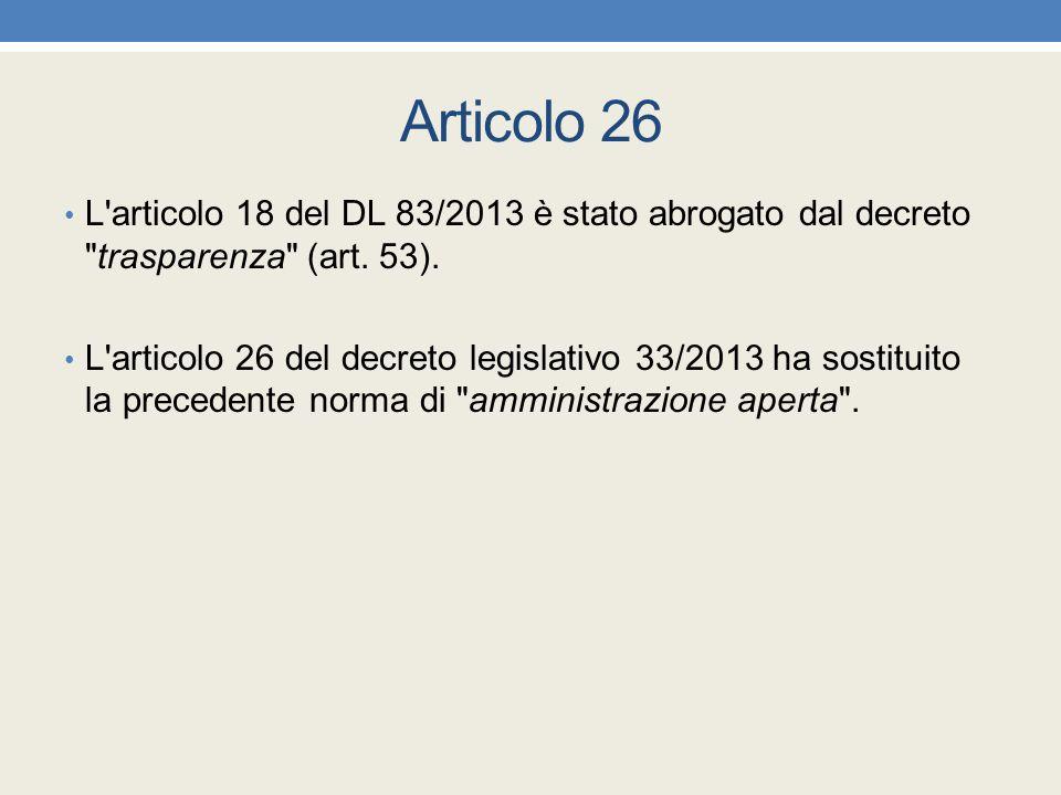 Articolo 26 L articolo 18 del DL 83/2013 è stato abrogato dal decreto trasparenza (art. 53).