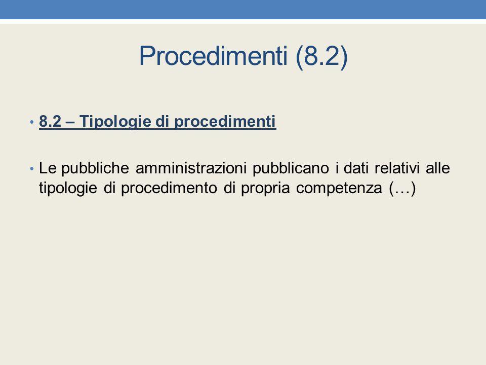 Procedimenti (8.2) 8.2 – Tipologie di procedimenti