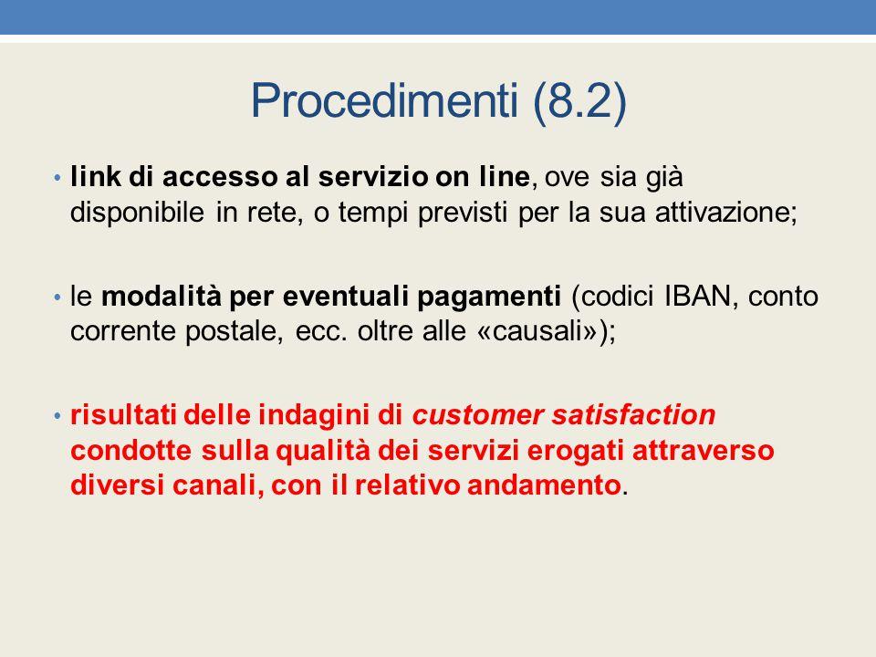 Procedimenti (8.2) link di accesso al servizio on line, ove sia già disponibile in rete, o tempi previsti per la sua attivazione;